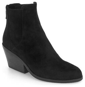 Eileen Fisher Peer Suede Booties Women's Heeled Ankle Boots Black Size 9.5