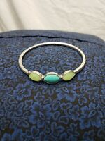 Lucky brand teal and lime stone silver tone bangle bracelet