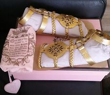JUICY COUTURE JACKIE GOLD GLADIATORS SANDALS SIZE 8M NEW IN BOX
