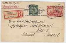 CHINA TSINGTAU 1901 Dragon Registered Cover Postcard to Austria Vienna, RARE!
