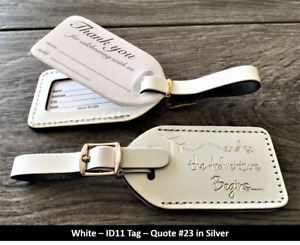 50 white (i.d.11) Wedding favor leather,honeymoon escort luggage tags,$2.35 each