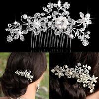 Bridal Wedding Flower Crystal Rhinestones Pearls Party Hair Clip Comb Diamante