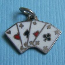 cards silver charm Vintage small enamel playing