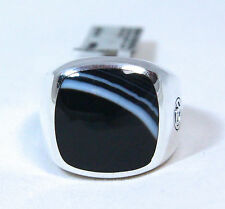 New David Yurman Men's Cushion Signet Ring 18mm Banded Agate Silver Size 10 $550