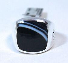 David Yurman Men's Cushion Signet Ring 18mm Banded Agate Silver Size 10 $550 NWT