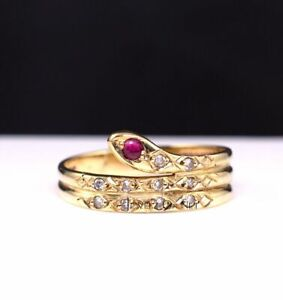 Solid 14k Gold Genuine Diamond and Ruby Snake Wrap Ring Size 9