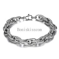 2018 Unique Men's Stainless Steel Chain Bracelet 8 Inches Length Silver Tone