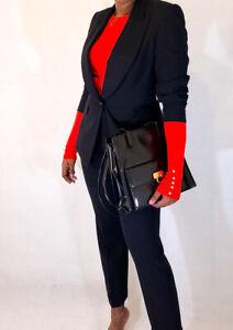 ESCADA Margareta Ley Black Tuxedo Suit Lion Jacket & Pants S M UK8-10 RRP£570