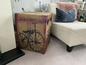 Vintage Style Hessian Bike Storage Chest Boxes X 2 RRP £500