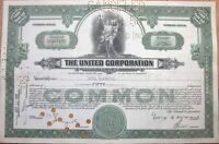 1937 Stock Certificate: 'The United Corporation' - Green