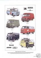 BRITISH VANS OF THE 60's Art Print - Commer PB Ford Transit Morris LD J2 Bedford