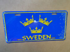 Swedish Three Crowns Sweden Tre Kronor  License Plate Aluminum 12 x 6