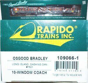 "Long Island ""Dashing Dan"" 7521 10-Windoww Coach Rapido 109066-1 HO Scale JA22.12"