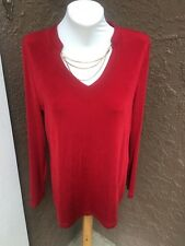 New $89 Soldout Chico's Travelers Enamel Red Chain Detail Top Sz 3 XL 16 18 NWT
