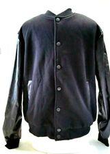 Coofandy Men's Baseball Bomber Jacket Slim Fit Coat Leather Sleeve size LRG
