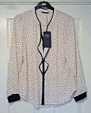 M&S COLLECTION - 'CITY FOLK' SPOTTY LONG-SLEEVED BLOUSE IN BLUSH PINK - SIZE 12
