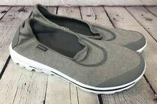 Skechers Go Walk Memory Foam Gray Flats Shoes Comfort Slip Ons Sz 9 L@@K