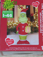 CHRISTMAS SANTA GEMMY 5.5 FT DR SEUSS THE GRINCH PRESENT AIRBLOWN INFLATABLE NEW