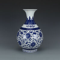 "13.6""China Jingdezhen Blue White Porcelain Hand Drawing Flower Pattern Vase青花瓷赏瓶"