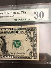 Fr#1909-J.Very Rare Paper Jam Error.Series 1977 $1.00.Pmg 30 Very Fine