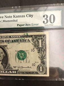 FR#1909-J.Very Rare Paper Jam Error.Series 1977 $1.00.PMG 30 Very Fine
