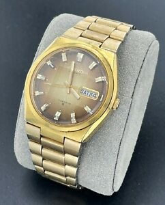 Vintage Seiko Automatic Gold Tone Day Date Watch 6309-8040 Faceted Crystal 17J