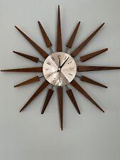 More details for mid century teak sunburst wall clock~vintage~retro~