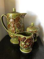 Vintage Royal Sealy Japan Ceramic Pitcher w/lid Sugar Bowl & Creamer Set Green