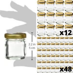 45ml Glass Mini Jam Jars Airtight Preserve Honey Small Jar With Lids 12-48pcs