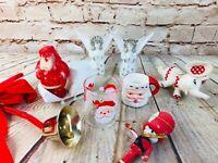 Vtg lot of Christmas Decorations ornaments santa cup Japan treat retro 50's 60's