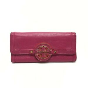 Tory Burch Amanda envelope Continental Bifold Wallet pink Leather