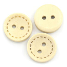 """200PCs Wood Sewing Buttons Scrapbooking 2 Holes Round Natural 13mm(4/8"""")Dia."""