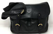 Stunning MARK CROSS XL Crossbody Heavy Brass Plush Pebble Black Leather Snap Bag
