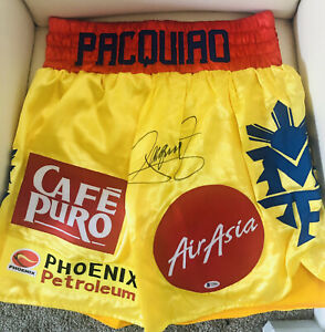 MANNY PACQUIAO AUTOGRAPHED BOXING SHORTS MAYWHEATHER VS PACQUIAO WITH COA