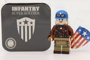 Phoenix Custom Bricks - Infantry Super Soldier Minifigure (Captain America)