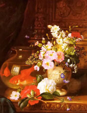 Dream-art Oil camellias primroses and lily of the valley in an urn by a goldfish
