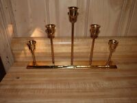 Brass candle holder home decor 5 well table top style, for tapers