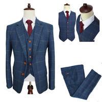 Herren Blau Texturiert 3Pcs Anzüge Besondere Wollmischung Anzüge Hochzeitsanzug