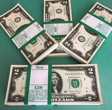 100 New Uncirculated $2 Bills Chicago Series 2017 Real Money Two Dollar Notes