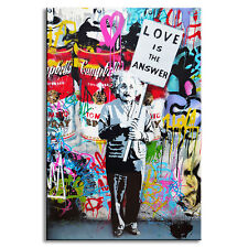"Banksy Art ""Love Is The Answer"" Canvas Prints Painting Graffiti Street Artwork"