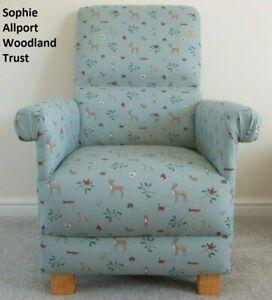 Sophie Allport Woodland Trust Fabric Childs Chair Kids Armchair Animals Blue Fox