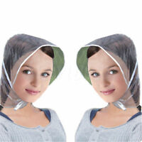1pc Reusable Waterproof Plastic Rain Wind Hat Transparent Hair Bonnet Cap Hood