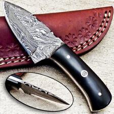 """NEW CUSTOM HANDMADE DAMASCUS 5.25"""" MINI HUNTING KNIFE BULL HORN HANDLE - UT-3701"""