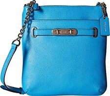 New Coach Swing pack Pebbled Leather Swagger SV/Azure Cross Body Bag Blue