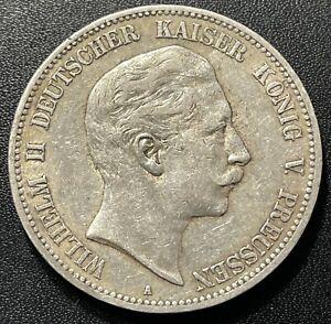 Germany (Prussia) 1903 5 Mark Silver Coin:  Wilhelm II