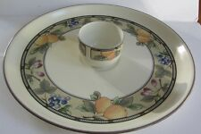 MIKASA INTAGLIO GARDEN HARVEST LARGE CHIP AND DIP PLATTER AND ROUND BOWL