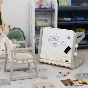 Kids Study Table and Chair Set 2-In-1 Design Drawing Board Writing Desk