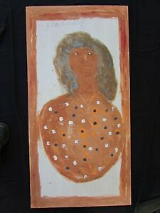 """JIMMY LEE SUDDUTH - OUTSIDER ART - BEAUTIFUL WOMAN - EARLY LARGE PC. - 48"""" x 24"""""""