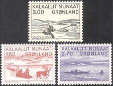 Greenland 1980 Art/Reindeer/Walrus//Sledge/Hunting/Canoe/Transport 3v set n32177