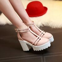 Fashion Womens Buckle Gothic Platform Strap Cut Out Sandals Chunky Heels Shoes
